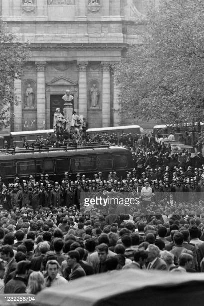 Students face French CRS riot police charge during a demonstration in front of the Sorbonne University, on the Boulevard Saint-Michel in the Latin...