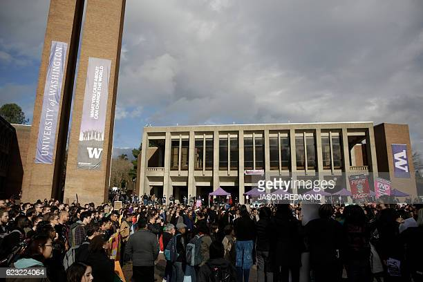 Students faculty and supporters gather for a walkout protest of US Presidentelect Donald Trump at the University of Washington in Seattle Washington...