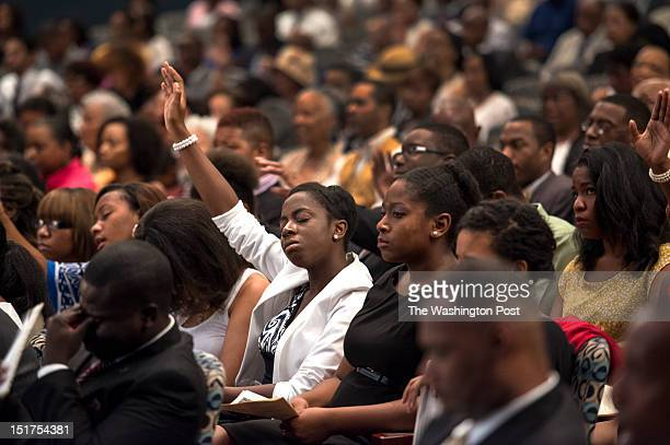 Students, faculty, staff and friends from Howard University, Morehouse and Spelman Colleges offer praise Sunday September 2, 2012 in Washington, DC...