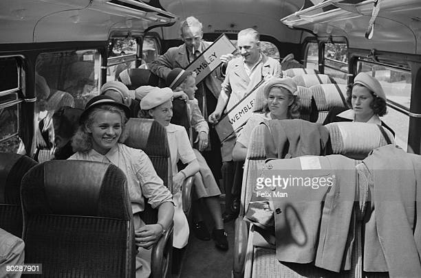 Students from an Argentine women's college arrive in London for the Olympic Games, 14th August 1948. Original Publication : Picture Post - 4582 -...