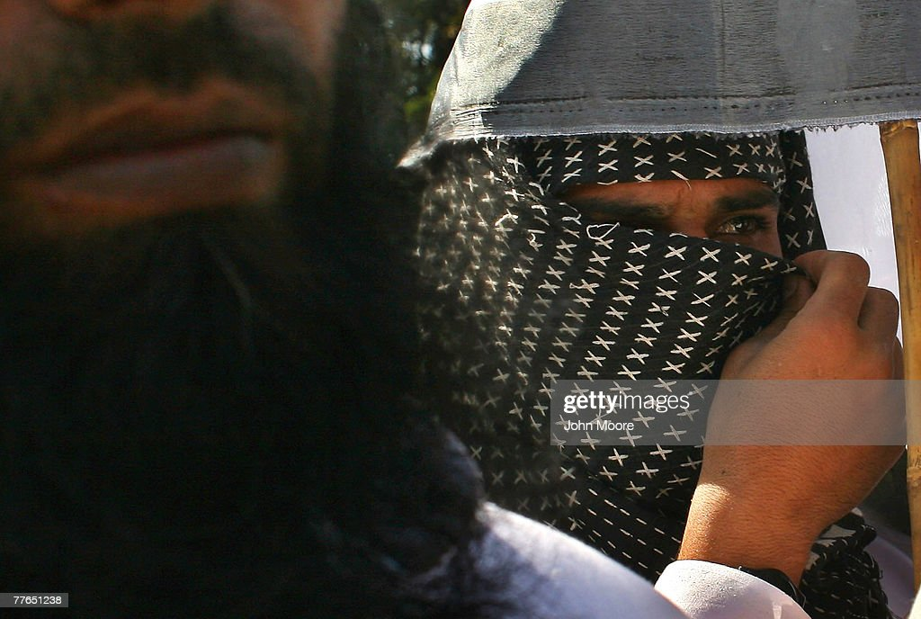 Students from an Islamic madrassa protest in front of the Supreme Court on November 2, 2007 in Islamabad, Pakistan. The demonstration, organized by a religious opposition party, was to protest against the Pakistani military's ongoing offensive against pro-Taliban militants in the country's North West Frontier Provence.