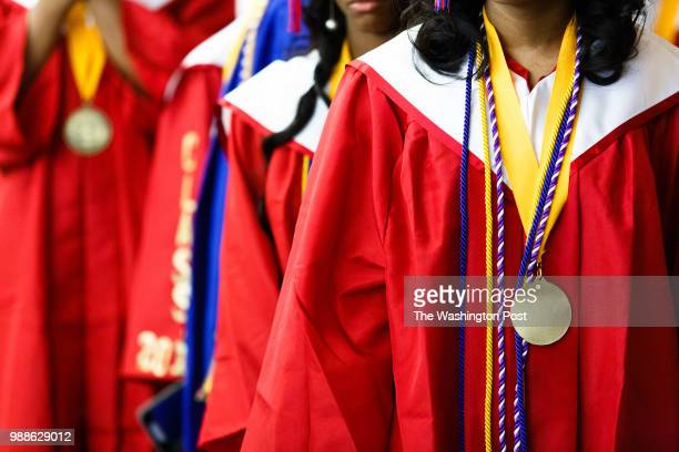 Students from Anacostia High School line up to enter Cramton Auditorium at Howard University prior to their graduation