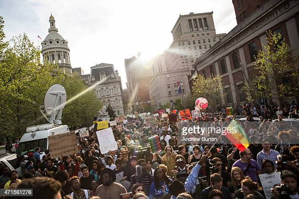 Students from Baltimore colleges and high schools march in protest chanting 'Justice for Freddie Gray' on April 29, 2015 in Baltimore, Maryland....