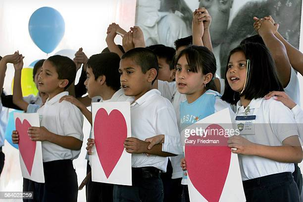 Students from Breed Street Elementary sing as a groundbreaking ceremony was held on Wednesday 2/21/2007 for the construction of East Los Angeles Area...