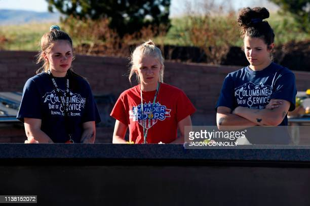 Students from Columbine High visit the Columbine Memorial at Clement Park in Littleton Colorado before a community vigil for the 20th anniversary of...