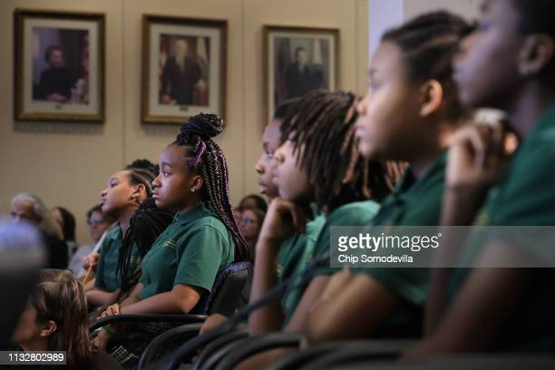 Students from Digital Pioneers Academy attend an event to discuss the proposal for Education Freedom Scholarships at the Education Department...