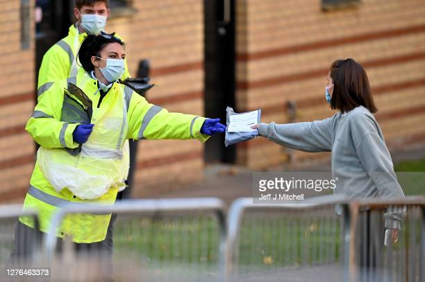 Students from Glasgow University attend a pop-up coronavirus testing centre at Murano Street Student Village on September 24, 2020 in Glasgow,...
