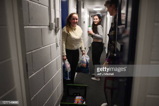 Students from Glasgow University receive food parcels at their accommodation at Murano Street student village on September 28, 2020 in Glasgow,...