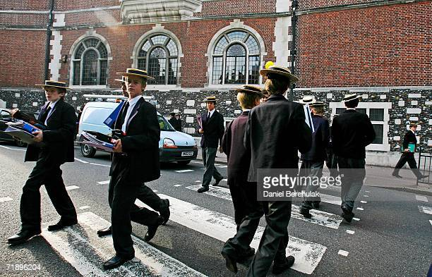 Students from Harrow school cross the road betwen classes on September 15 2006 in London England Police were called last night to an address in...