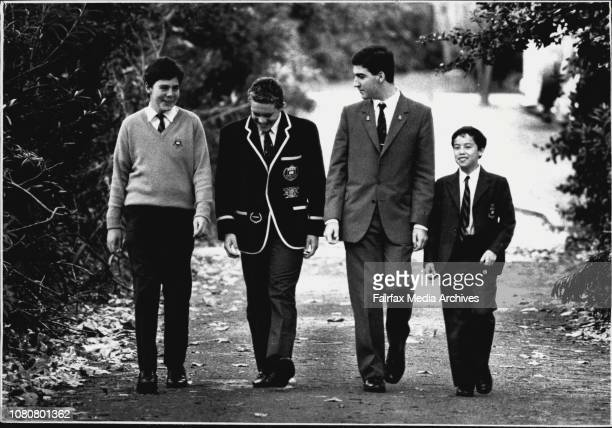 Students from ***** High model their school uniform With jumper Shannon Taylor of year 8 with blazer Justin Lennon of year 12 with jacket Michael...