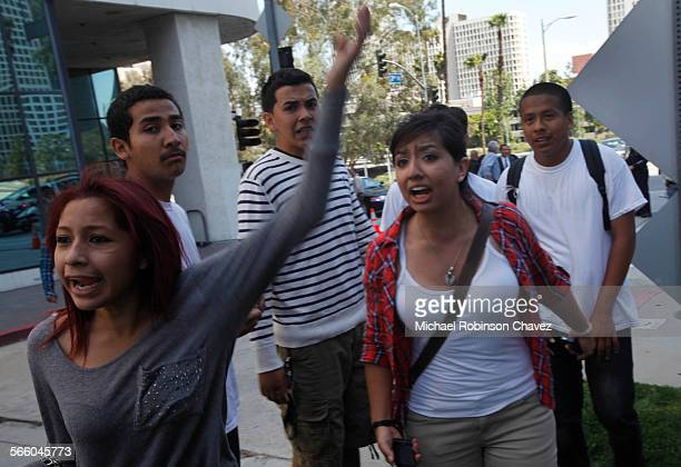 Students from Huntington Park High School walked out of class and marched to the LAUSD headquarters in Los Angeles to protest a plan to make teachers...