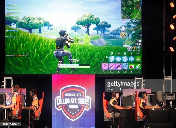 Students from Louisiana State University and The University of Washington compete in the online game Fortnite during DreamHack Atlanta 2018 at the...
