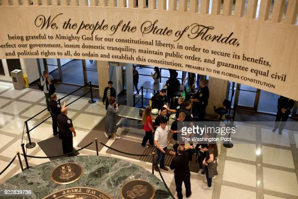 Students from Marjory Stoneman Douglas High School arrive at the Florida State Capitol to meet with legislators a week after a shooting at their high...