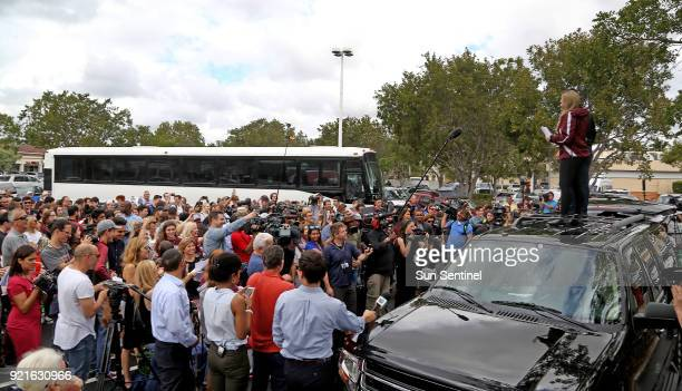 Students from Marjory Stoneman Douglas High School get ready to board a bus for a trip to Tallahassee Fla on Tuesday Feb 20 2018 to talk with...