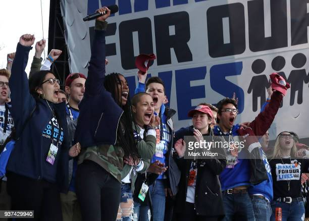 Students from Marjory Stoneman Douglas High School stand together at the end of the March for Our Lives rally on March 24 2018 in Washington DC More...