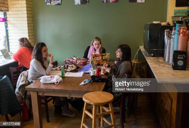 Students from Northwestern University read and talk January 16 2014 at a local coffee shop in Evanston Illinois
