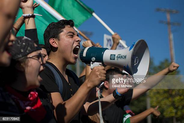 Students from numerous area high schools come together in Mariachi Plaza before continuing their march to City Hall to protest the upset election of...
