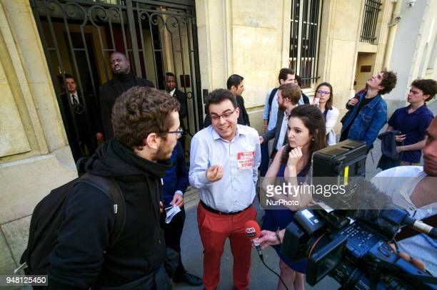 Students from rightwing party object to closure of the entrance of Sciences Po university on April 18 2018 in Paris as part of nationwide...