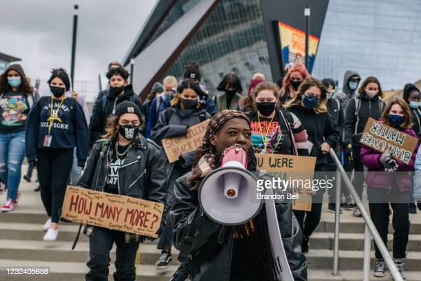 Students from Roosevelt high school participate in a statewide walkout on April 19, 2021 in Minneapolis, Minnesota. Students from high schools across...