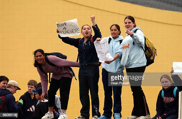 Students from Selwyn College protest outside their school on Kohimarama Road in support of the teachers industrial strike action which has effected...