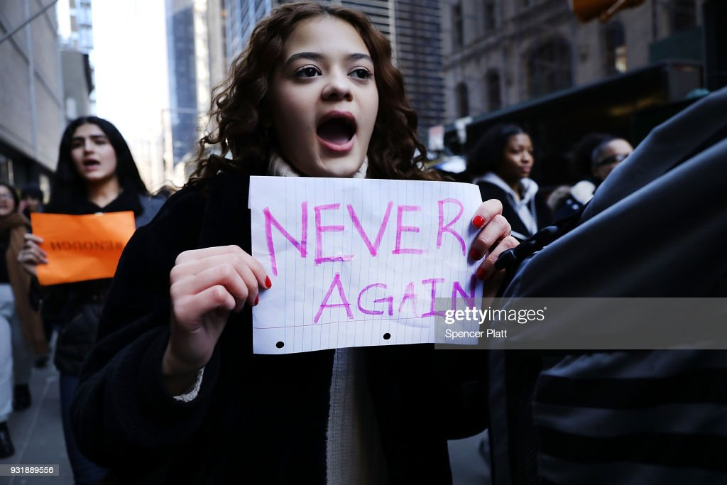 Students from surrounding schools gather at Zuccotti Park in lower Manhattan to mark one month since the high school shooting in Parkland, Florida and to demand an end to gun violence on March 14, 2018 in New York City.. Students across the nation walked out of their classrooms at 10 a.m. across time zones for 17 minutes to show solidarity for the 17 killed in the Valentine's Day attack at Marjory Stoneman Douglas High School and to make a nationwide appeal for changes in gun laws.
