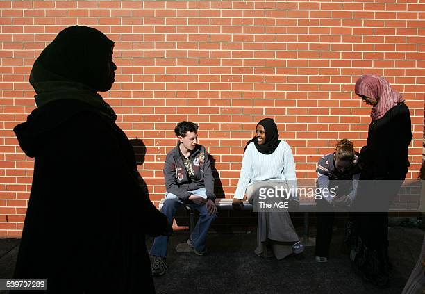 Students from the Debney Park Secondary College speaking on the wearing of the hijab at school 29 August 2005 THE AGE NEWS EXTRA Picture by JASON...