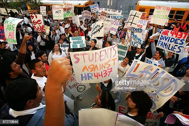 Students from the East Los Angeles community group Inner City Struggle demonstrate against HR4437 after attending a Los Angeles Unified School...