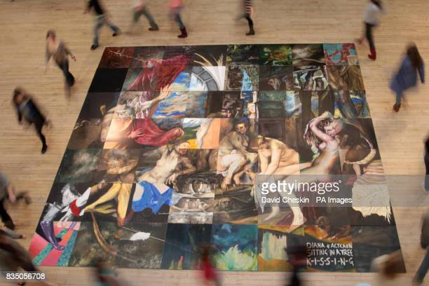 Students from the Edinburgh College of Art gather pose for photographs in Edinburgh around their large scale reproduction of Diana and Actaeon...