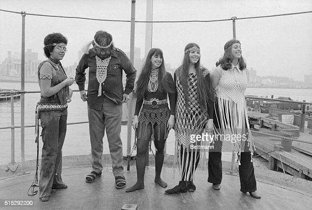 Students from the Fashion Institute of Technology are shown here modeling Postek's art which includes 'macrame' designs aboard the Ambrose Lightship...