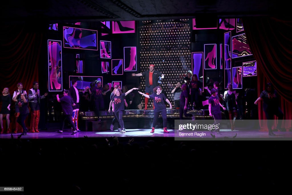 Students from the Harvey Milk High School perform during the TDF Honors Broadway's 'Kinky Boots' Curtain Call at Al Hirschfeld Theatre on March 20, 2017 in New York City.
