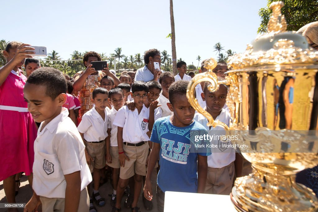 Students from the Kulu Kulu Public School view the Webb Ellis Cup at the Kulu Kulu Public School on May 17, 2018 in Sigatoka, Fiji.