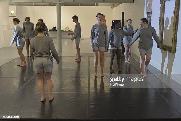 Students from the Liverpool John Moore's University BA Dance Practices degree programme performing Spazio Perforate 2015 at the Tate Liverpool in...