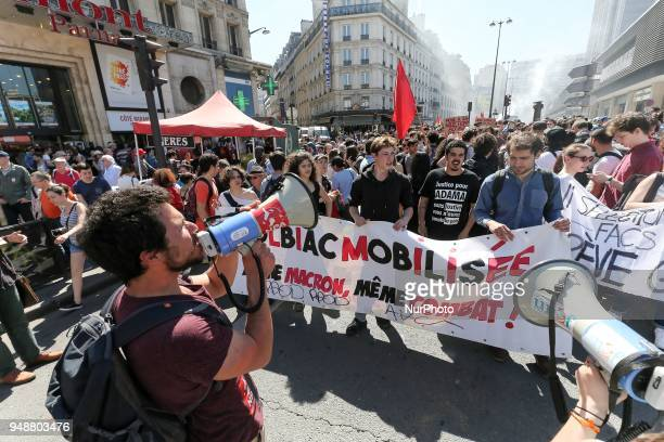 Students from the Paris' Tolbiac campus of the Sorbonne university take part in a demonstration on April 19 2018 in Paris as part of a multi branch...