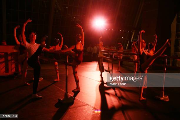 Students from the School of American Ballet in New York City rehearse for Billy Elliot the musical performed at the Temple of Dendur during the...