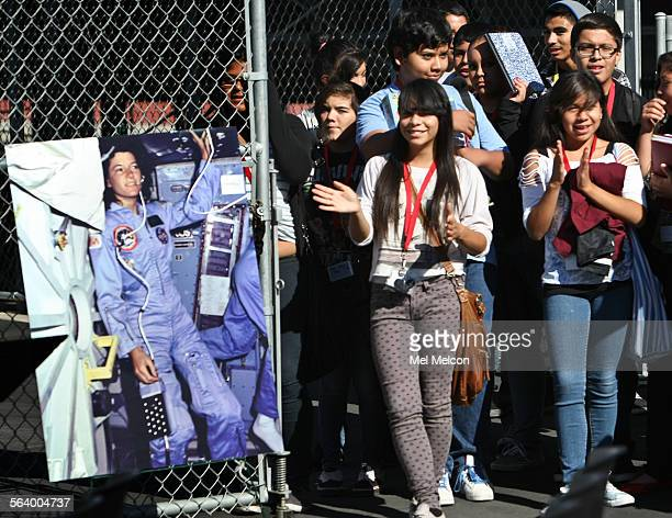 Students from the School of History and Dramatic Arts in Los Angeles cheer during a dedication ceremony for the Sally Ride Center for Environmental...