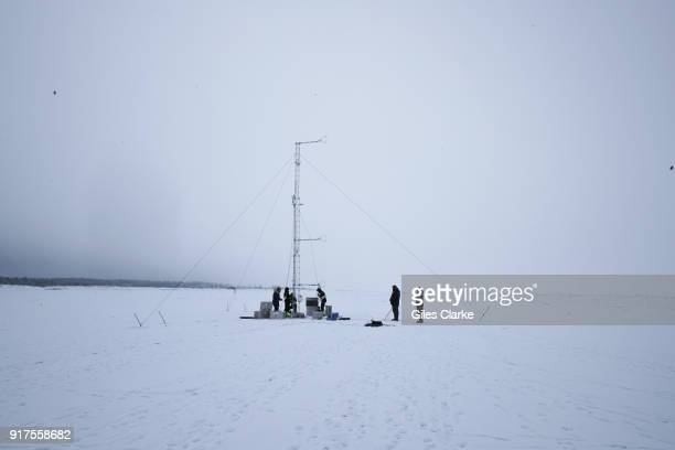 Students from The University of Bergen conducting weather experiments on the frozen sea ice