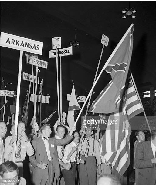 Students from the University of Mississippi, Birmingham Southern College and other southern schools join in the parade here, as Governor J. Strom...