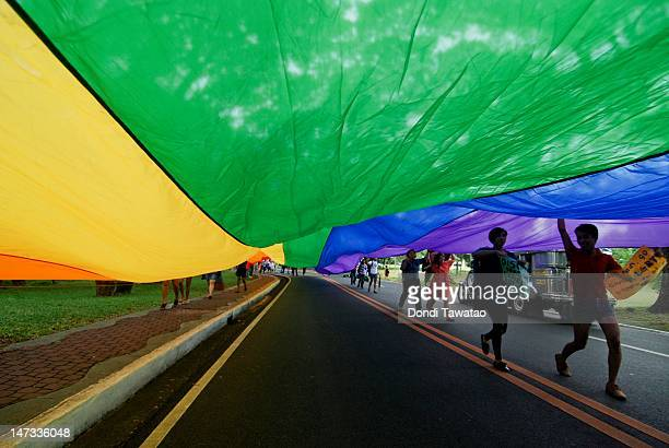 LGBT students from the University of the Philippines hold a parade in celebration of Pride Month on June 28 2012 in Manila Philippines The march was...