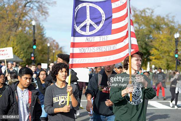 Students from Washington DC public schools staged a planned walkout protest against Presidentelect Donald Trump around the US Capitol on November 15...