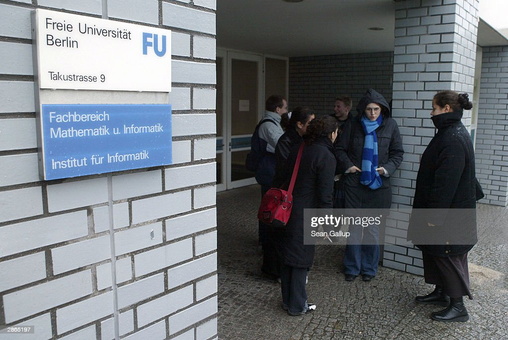 Students gather and talk with each other outside the computer studies department at the Freie Universitaet January 13, 2003 in Berlin, Germany. The German university system is facing cuts of EUR 75 million in state funding over the next four years as the German government pushes through financial reforms. German politicians are also deliberating whether to start making students pay for at least a portion of the costs of their university education, though the proposal has met with fierce resitance from students, who went on strike across Germany last month.