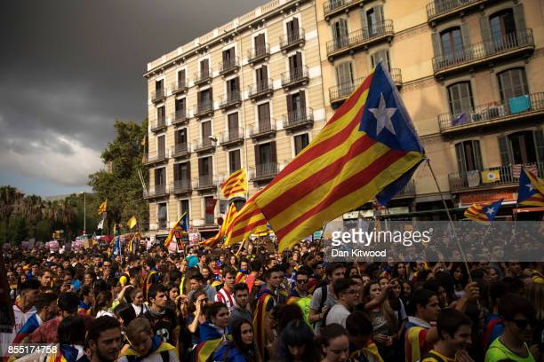 Students gather as they demonstrate against the position of the Spanish government to ban the selfdetermination referendum of Catalonia during a...