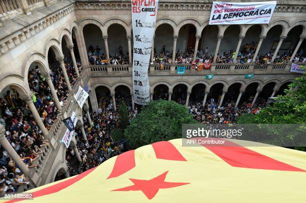 Students gather at the historical headquarters of the University of Barcelona during a proreferedum demonstration on September 22 2017 in Barcelona...