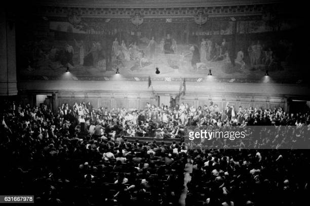 Students gather for a general assembly in the amphitheater at the Sorbonne university on May 15 1968 in Paris during the May 1968 events in France /...