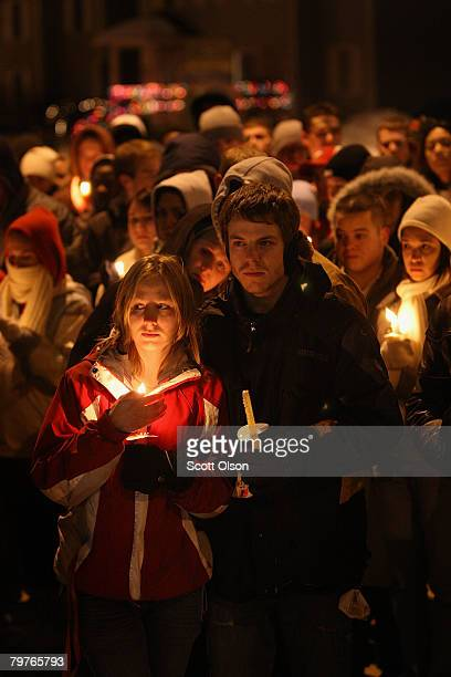 Students gather for a prayer service on the campus of Northern Illinois University to pray for those killed and wounded in yesterday's a shooting at...