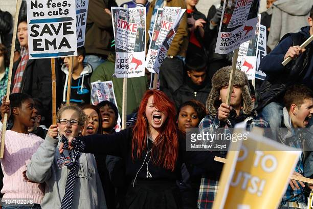 Students gather in Trafalgar Square protesting against planned increases in tuition fees and maintenance grant cuts on November 24 2010 in London...