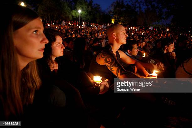 Students gather on the UC Santa Barbara campus for a candlelight vigil for those affected by the tragedy in Isla Vista on May 24 2014 in Santa...