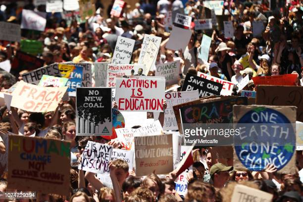 Students gather to demand the government take action on climate change at Martin Place on November 30 2018 in Sydney Australia Inspired by Greta...
