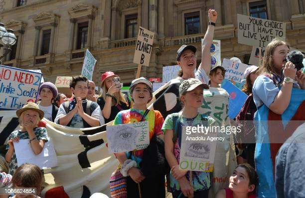 Students gather to demand the government take action on climate change with the attendance of their parents and teachers in Melbourne Australia on...