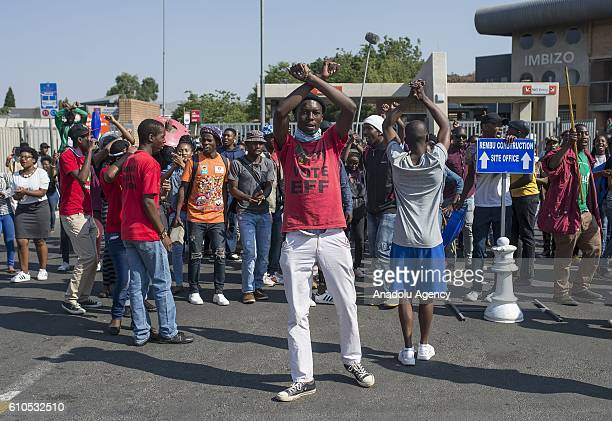 Students gather to protest after South African Minister of Higher Education and Training Blade Nzimande's explanations on possibility of raising...