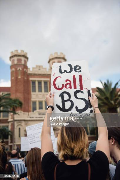 Students gather to protest for gun reform in Tallahassee Florida at the Capitol building a few days after the school shooting at Marjory Stoneman...